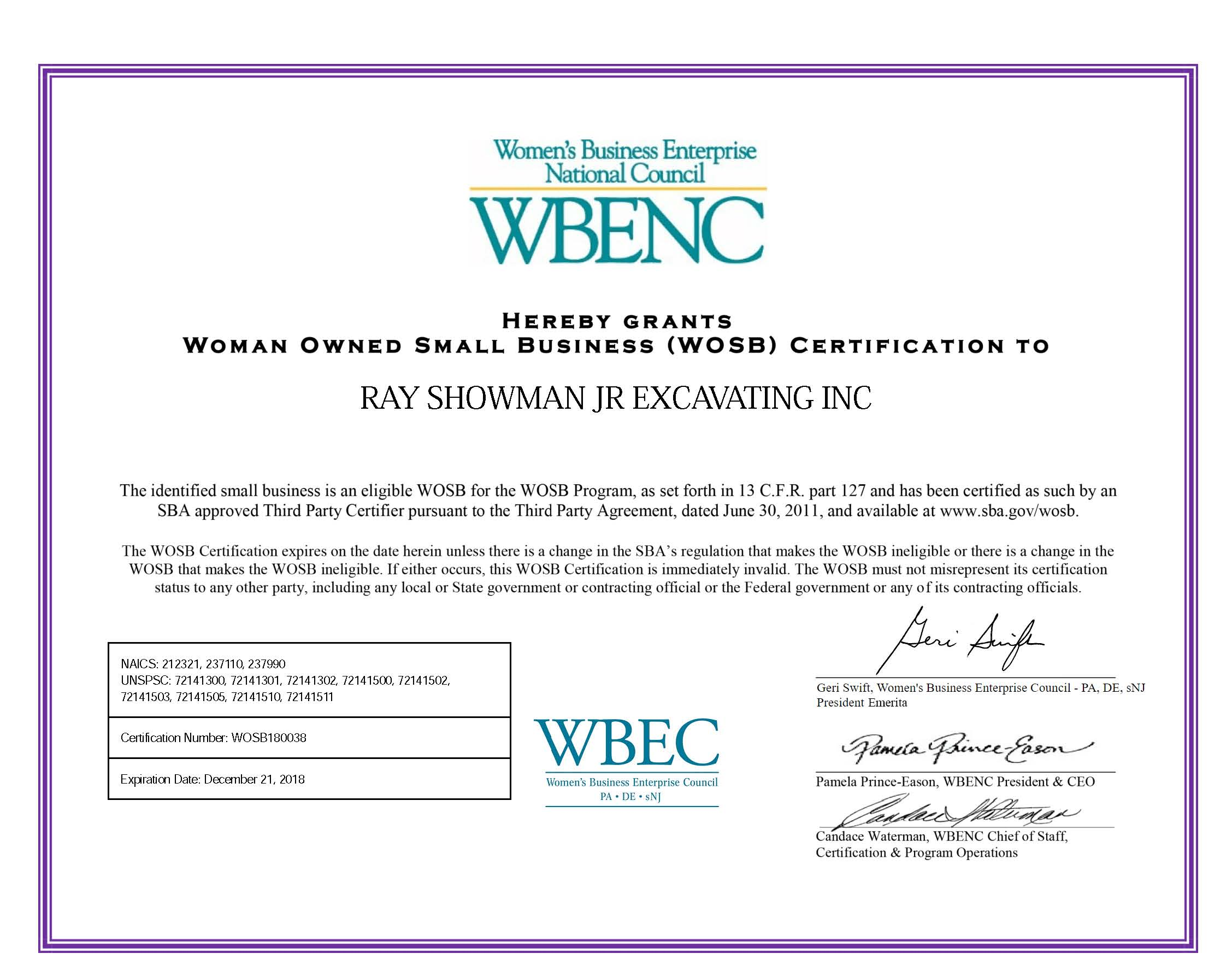 WBENC - Women Owned Small Business