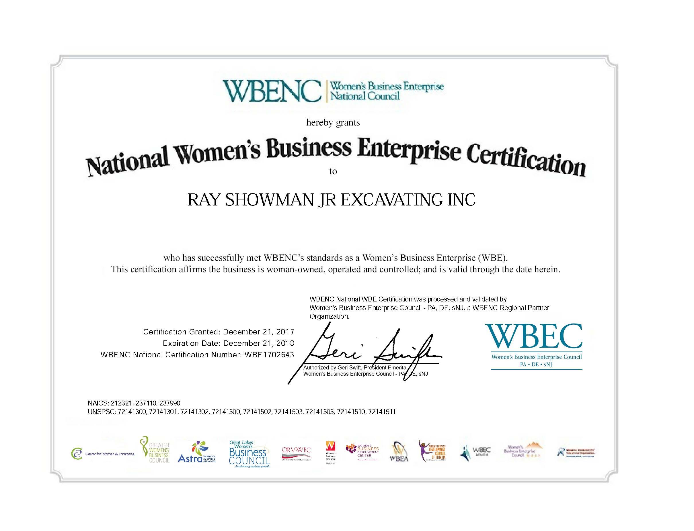WBENC - WOSB Certificate